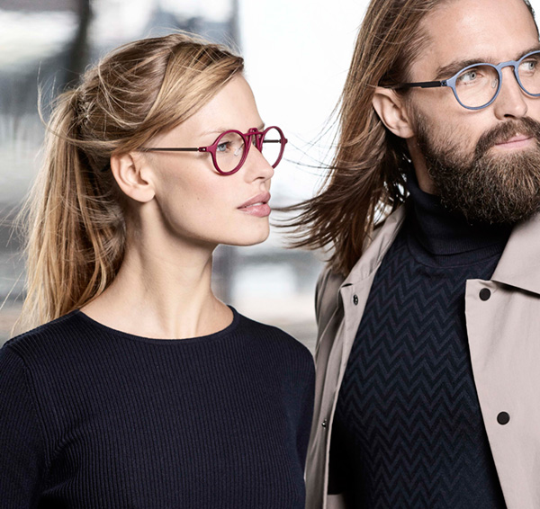 Red glasses for women. Blue eyewear for men