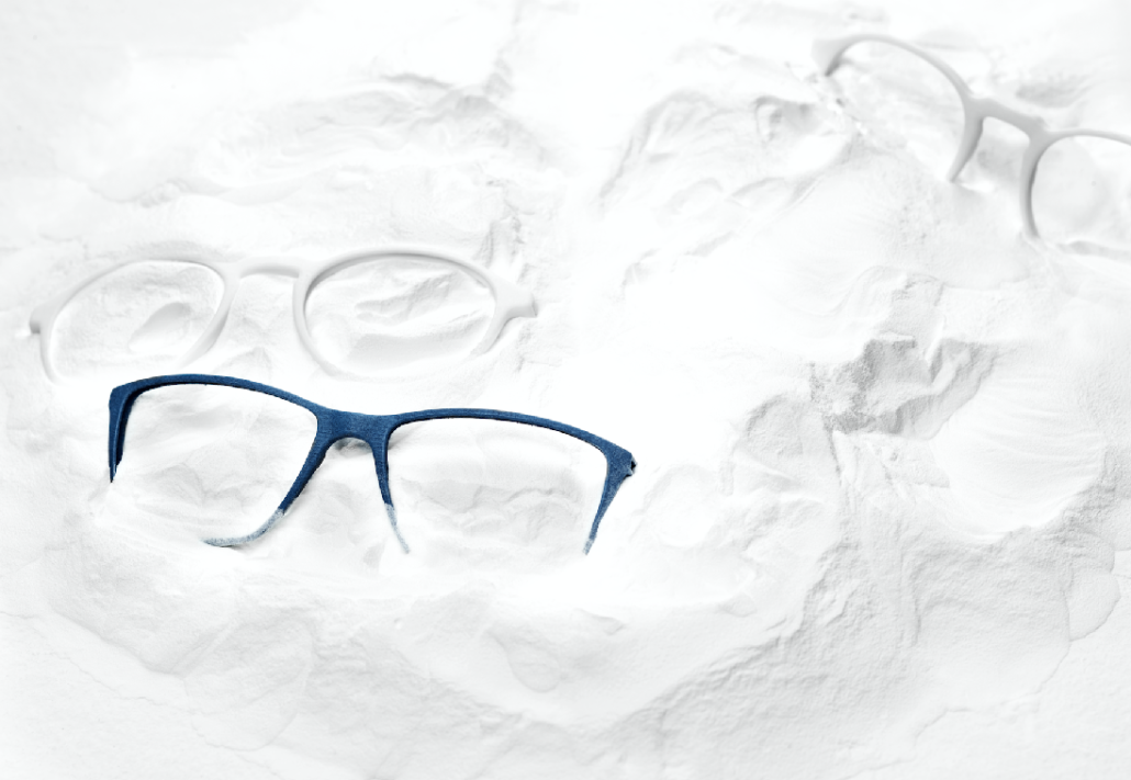 3D printed white and blue glasses
